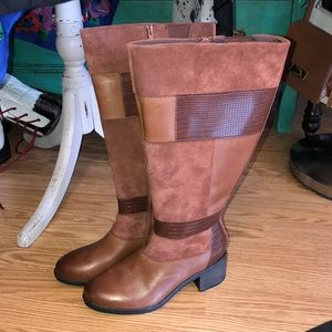 Clarks wide calf leather boots nevella nova